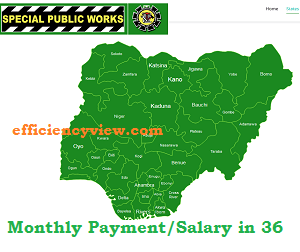 Special Public Works Program List of Beneficiaries monthly Payment/Salary in 36 States