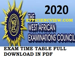 WAEC Exams Timetable August/September 2020 pdf download out