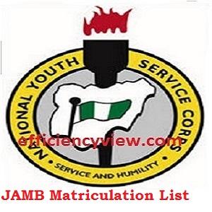 NYSC JAMB Matriculation List Link Portal 2020-2023