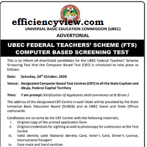 UBEC FTS CBT Exams Test starts on Saturday 24th October 2020 at SUBEB Centers