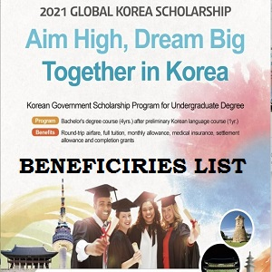 Global Korea Scholarship (GKS) Successful Shortlisted Beneficiaries 2020/2021