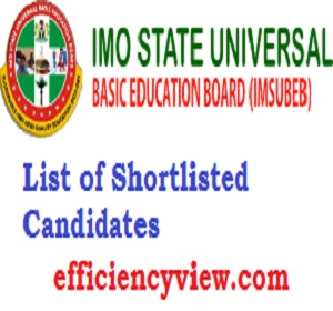 Imo State UBEC FTS SUBEB Shortlisted Candidates 2020 for Federal Teachers Scheme