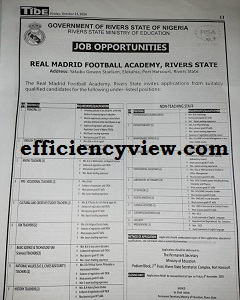 Rivers State Real Madrid Football Academy Recruitment Application Form 2020 out apply here