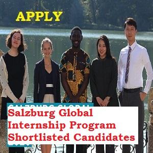Salzburg Global Internship Program Shortlisted Candidates 2020/2021