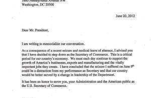 Commerce Secretary John Bryson's resignation letter