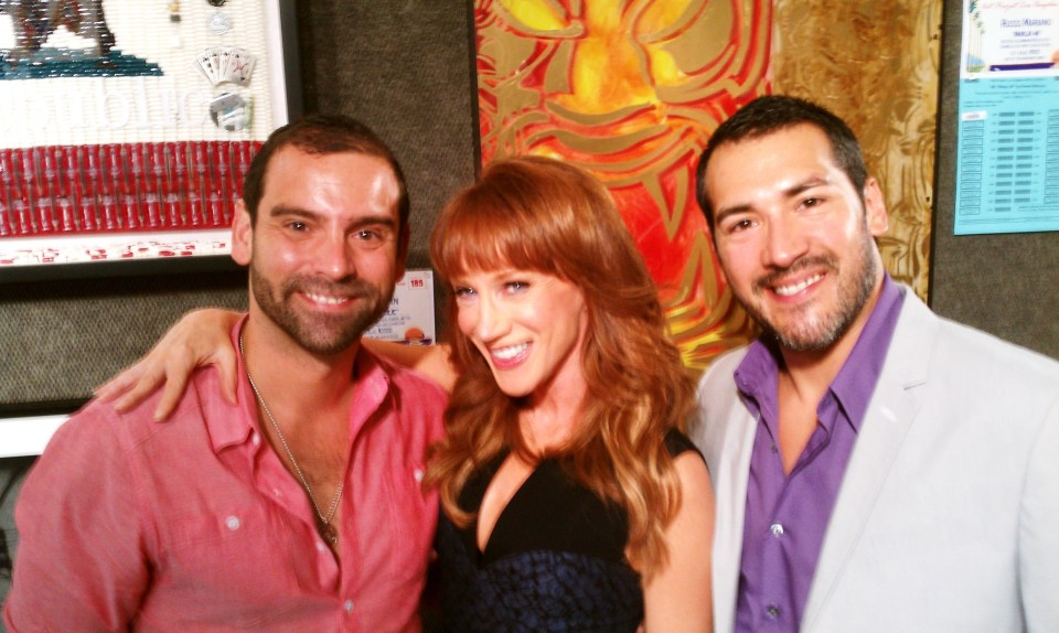 A Bashful Bunch; (L to R) Prudential Realty Beverly Hills Manager, Nicholas Cacarnakis, Bravo TV star, Kathy Griffin and Editor-in-chief, F. E. Cornejo