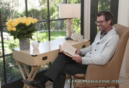 EffieMagazine.com Photo of Tuc Watkins lounging in Chicks & Blokes shirt, sweater & slacks.