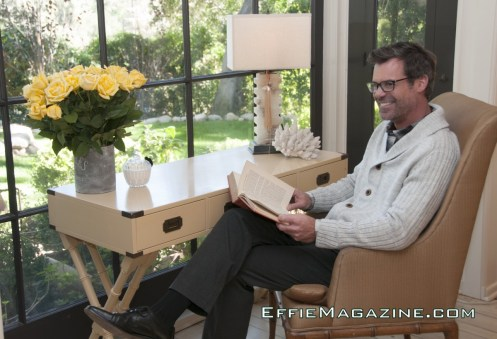 EffieMagazine.com Photo of Tuc Watkins lounging in Chicks & Blokes shirt, sweater & slacks.