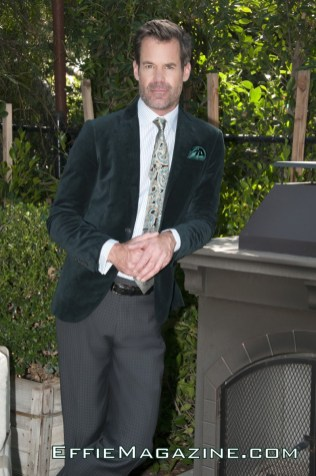 EffieMagazine.com Photo of Tuc Watkins wearing Chicks & Blokes shirt, Zara green velvet jacket, A. Luxe green paisley tie, Hugo Boss slacks.