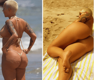 Amber Rose's derrière before and after (what photoshop can do)