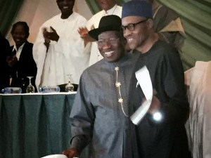 President Jonathan & Buhari embrace & smile as they sign the Peace Accord (Photos)