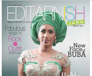 Juliet Ibrahim on the March Edition Cover of Editarnish Magazine