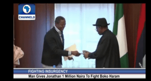 Man Donates 1million Naira to Fight Boko Haram (Photo + Video)