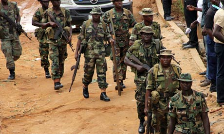 Nigerian soldiers on patrol