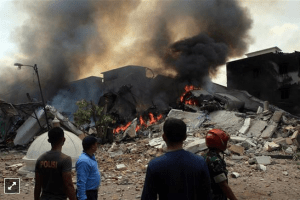 At least 43 feared dead after military plane crashes in Indonesian city