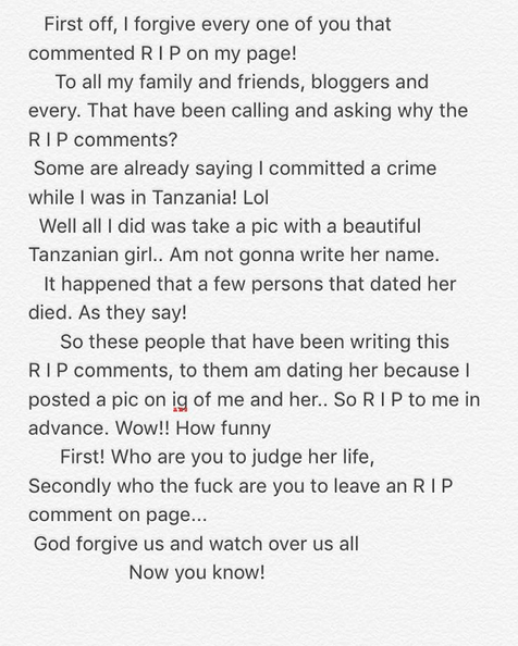 Tekno deletes Instagram posts and pics