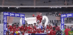 Standard Liege captain, Adrien Trebel had his shorts pulled down as he lifted the Belgium cup (Funny Photo + Video)