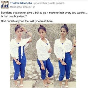 Look at this young lady, want a boyfriend that will give her N100k for hairdo monthly (Photo)