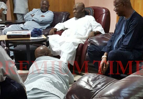 Doyin Okupe prostrates and begs Obasanjo