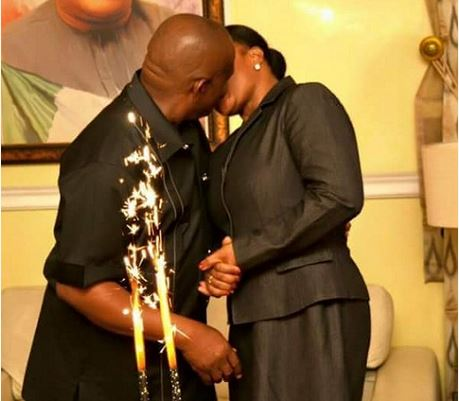 Governor Wike and wife kiss publicly