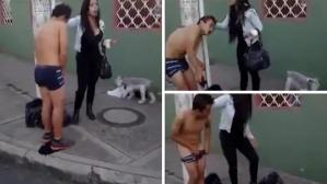 Angry Colombian woman forces robber to strip naked in public (Photo + Video)