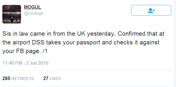 DSS checks your passport with facebook