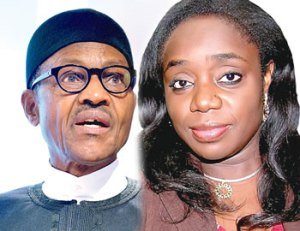 (L to R) President Buhari and Kemi Adeosun