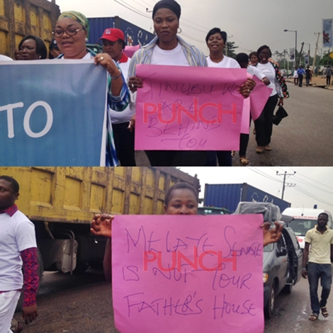 Women protest againt Dino Melaye in Lagos2