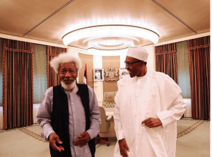 President Buhari and Wole Soyinka hold meeting in Aso Rock (Photo)