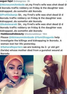 Woman murdered by armed robbers in Lagos,her daughter kidnapped