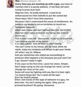 It's rape culture- Lady puts Nigerian men on blast….
