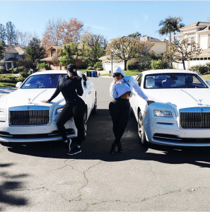 Blac Chyna and Amber Rose pose with their identical Rolls Royce Wraith (Photos)