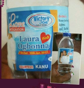 Check out Laura Ikeji's customised water bottle for her traditional marriage