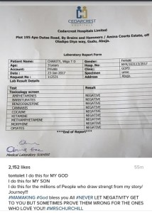 What drugs? Tonto Dikeh shares test results of rumored drug abuse