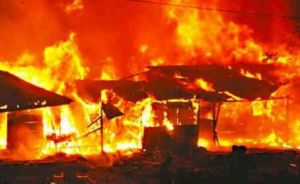 Watch as Fire gut residential building in Lagos