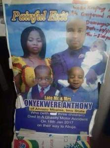 Family of three perish in accident on their way to Abuja