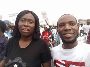 Senator Obafemi Ojudu's daughter goes on protest in Lagos