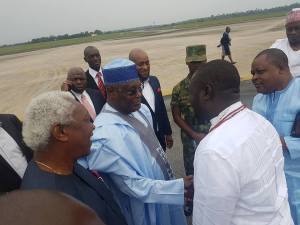 Ayiri Emami welcome former Vice President Atiku A bubakar as he arrives Osubi airport,Warri.