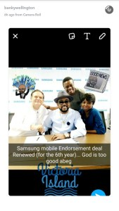 Banky W retains his endorsement as Samsung ambassador for the sixth year running