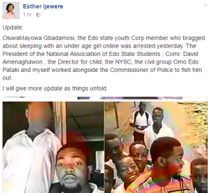 Edo Corps member who bragged about sleeping with a student gets arrested