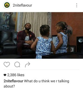 Flavour N'abania shares photo of himself chilling with his daughters