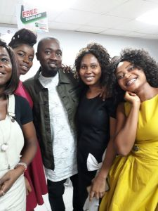 Ice Prince pictured with Palmchat staffs in Lagos