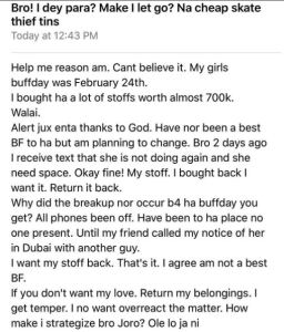 Man goes 'ape shit after ' girlfriend breaks up with him after collecting 700k for her birthday