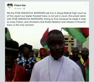 Catholic priest storm Abuja High Court for  the release of Nnamdi Kanu