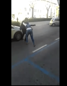 Pay me my money, Nigerian Lady fights lover in Italy- See video and pictures