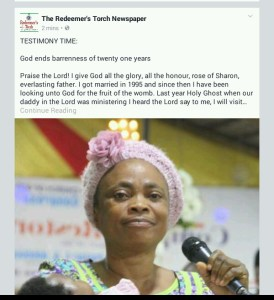 Member of RCCG births patter of Tiny feet after 25years of marriage