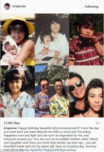 Kris Jennner wishes Kourtney Kardashian a happy birthday with a touching post