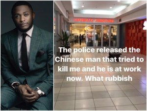 Ubi Franklin reacts after Policeman releases Chinese man who tried to kill him