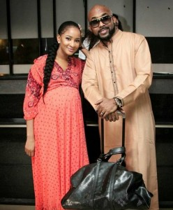 Adesua and her baby bump pose with Banky W