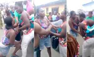 Two Nigerian women fighting shamelessly over a man